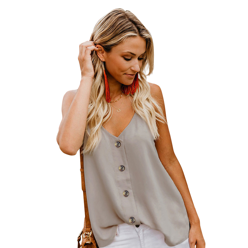 High Quality Solid Color Sleeveless Strap Buttoned Women Tank Top