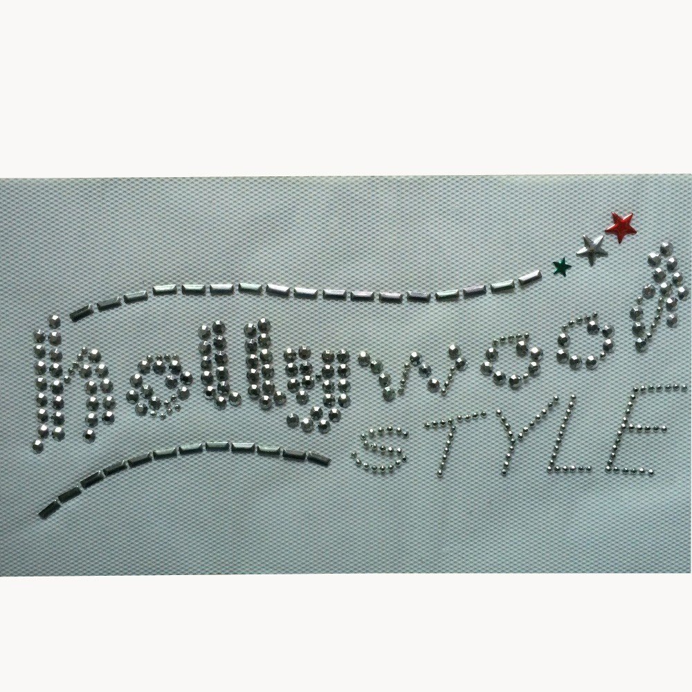 factory sale iron on rhinestone transfer holly wood letters design hot fix motif