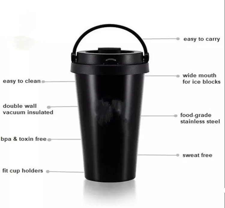 Portable 500ml Double Wall Stainless Steel Coffee mug Creative Custom logo Gift Cup Office Hand Cup