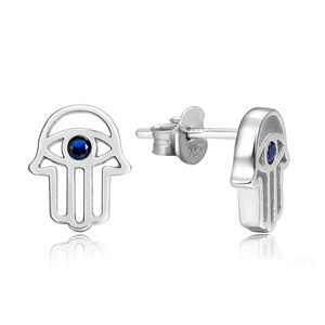 POLIVA Fashionable Design Protection Jewellery Blue Sapphire 925 Sterling Silver Evil Eyes Hamsa Hand Stud Earring