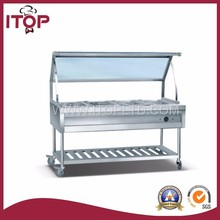 with glass top kitchen cold bain marie