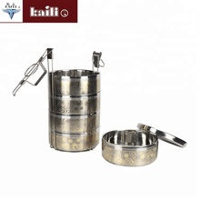 2/3/4 lagen rvs double wall <span class=keywords><strong>lunch</strong></span> box tiffin carrier met handvat