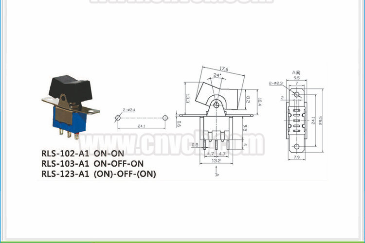 TS23 (ON)-OFF-(ON) Function 3 pin rocker switch Momentary toggle switch