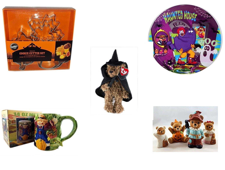 "Halloween Fun Gift Bundle [5 piece] - Wilton Autumn 8-Piece Cookie Cutter Set - McDonald's Haunted House, RIP, Boo Halloween Plate - Ty Attic Treasures ""Esmerelda"" Witch Bear Plush - Earthenware Sca"