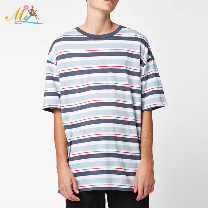 Wholesale 100% cotton red grey white blue stripped stylish men blank fitted t - shirt