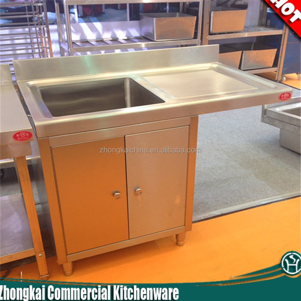 Metal Kitchen Sink Base Cabinet Stainless Steel Single Bowl With Drainboard