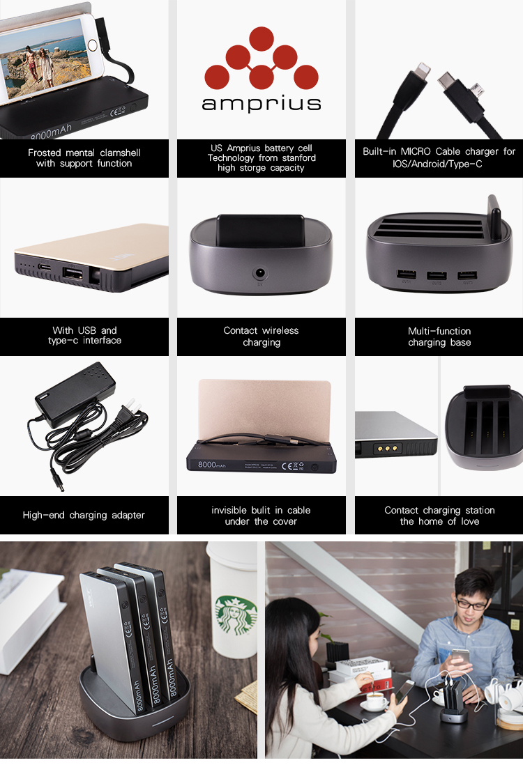 ABS + aluminum public restaurant / coffee shop micro usb type c power bank docking station