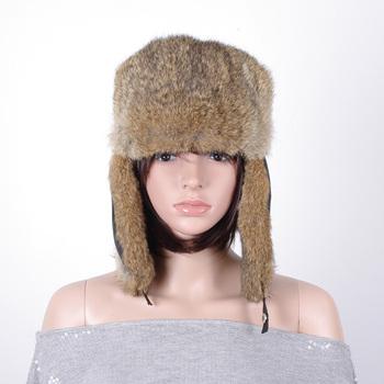4d8adb345a69d Women winter rabbit fur earflap military ushanka russian trooper hat winter fur  hat KZ150127