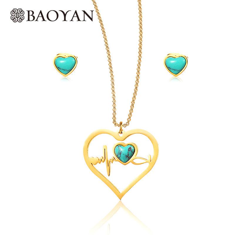 91cae1536405 Joyas juego collar y aretes acero dorado inoxidable de corazon con piedra  turquesa para mujeres