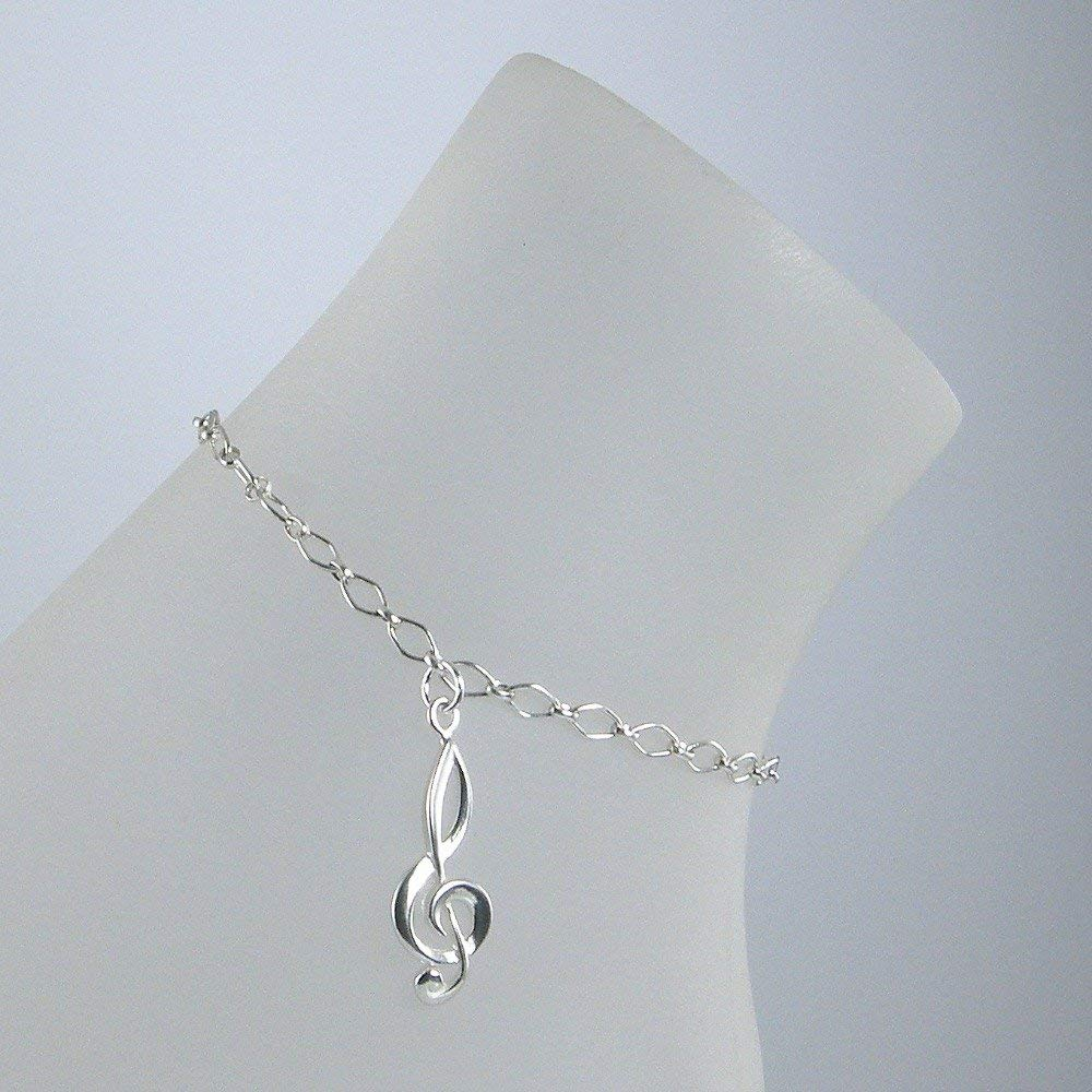 Treble Clef Sterling Silver Chain Anklet, Musical Note Anklet, 925 Sterling Silver Ankle Bracelet