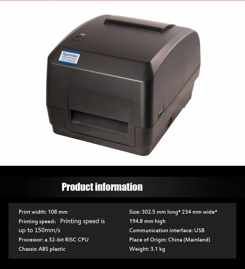 XP-H500B Direct thermal & thermal transfer label barcode