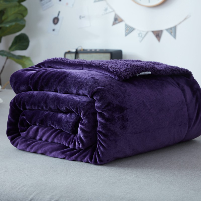 Home Luxury Hot Sell Lamb Coral Fleece Double Layer Bed Cover Throw Lafite Red Blankets