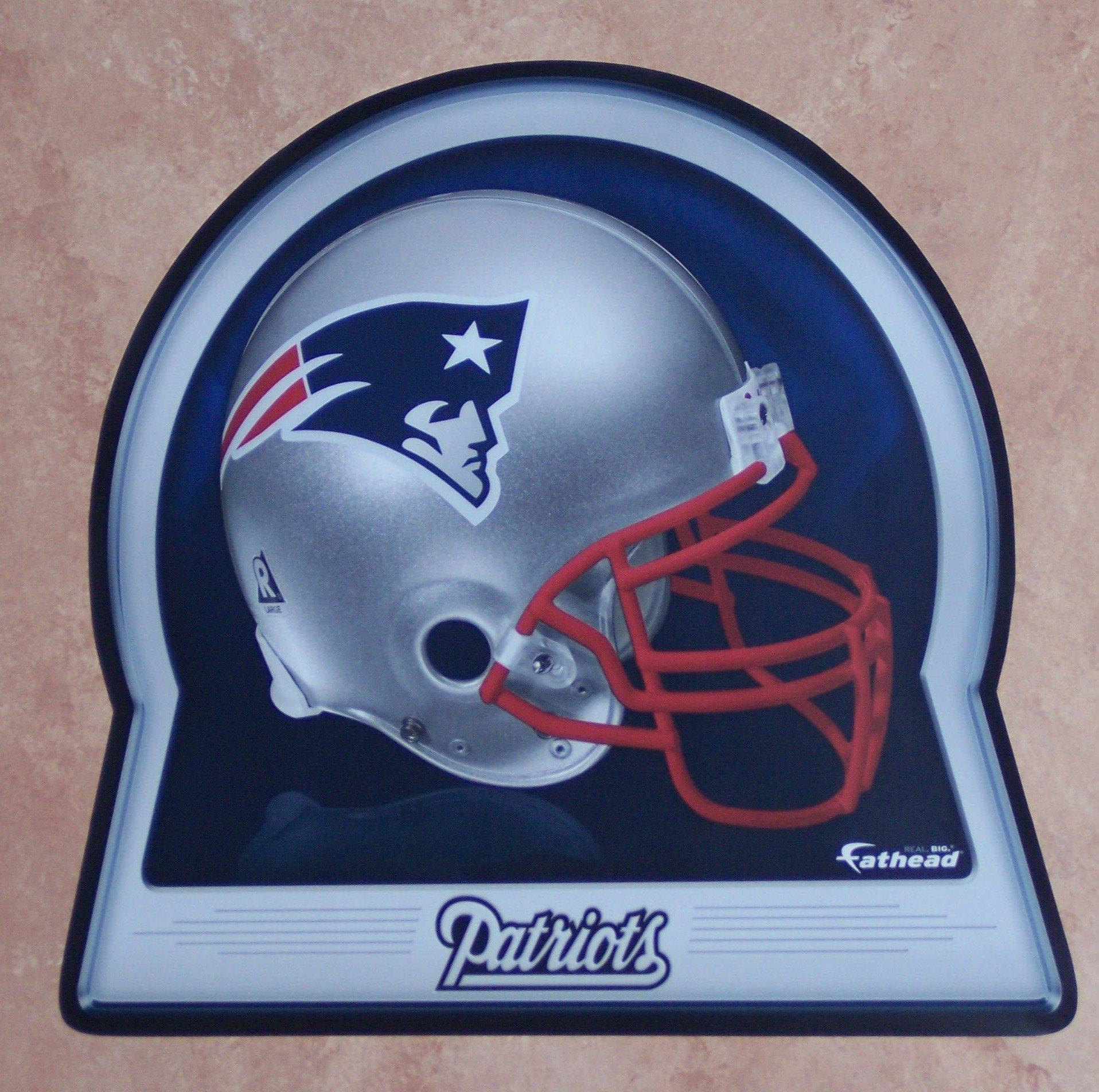 "New England Patriots FATHEAD Team Helmet Logo Official NFL Vinyl Wall Graphic 12""x10"" INCH"