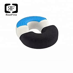 Hemorrhoid Treatment & Coccyx Pain Relief Breathable Memory Foam Gel Round Donut Seat Cushion