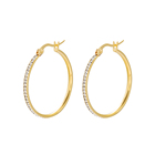 E-661 xuping Stainless Steel jewelry classic hoop design Rhinestone 24K gold plated fashion earrings