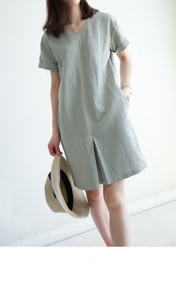 Linen ladies casual V neck split one pieces dress summer short sleeves fashion in European and USA