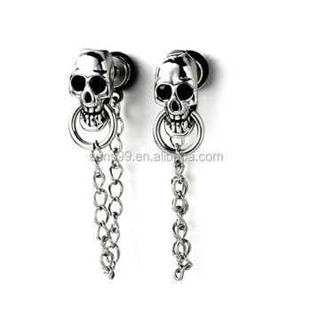 Whole Mens Women Skull Chain Stud Earrings Drop Dangle Stainless Steel Back