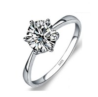925 Sterling Silver Jewelry Engagement Ring 6 Claws AAA CZ Diamond Ring