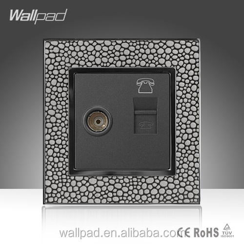 Wholesale Alibaba Wallpad Leather Material Frame UK LED Indicator TV Telephone RJ11 Socket Connectors