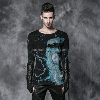 4e2937074ed8f2 Punk gotische Männer Barette Skelett Blitz Design Langarm T-Shirts Punk Rave  chinesischen Großhandelsunternehmen