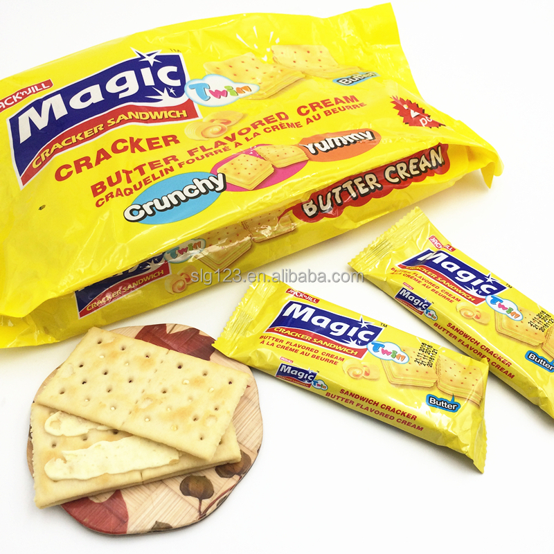 Yummy yellow color Butter flavored cream crunchy strawberry sandwich crackers
