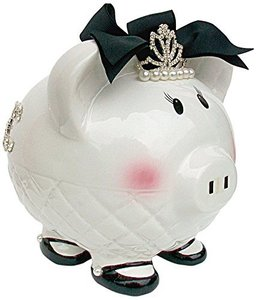 Queen Crown Black Bowknot Ceramic Horse Acrylic Piggy Bank