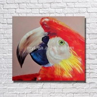 Bedroom decorating parrot handmade oil painting of bird for living room red bird decoration