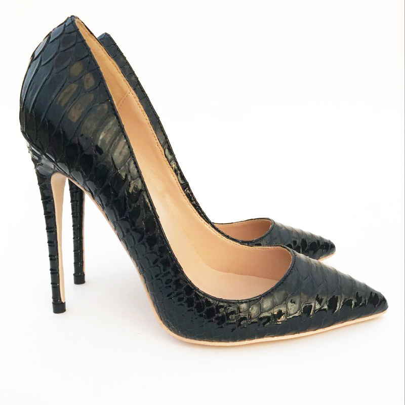 Hot Sale Sexy Female Stiletto High <strong>Heels</strong> Black Snakeskin Pumps High Quality Women Dress Shoes