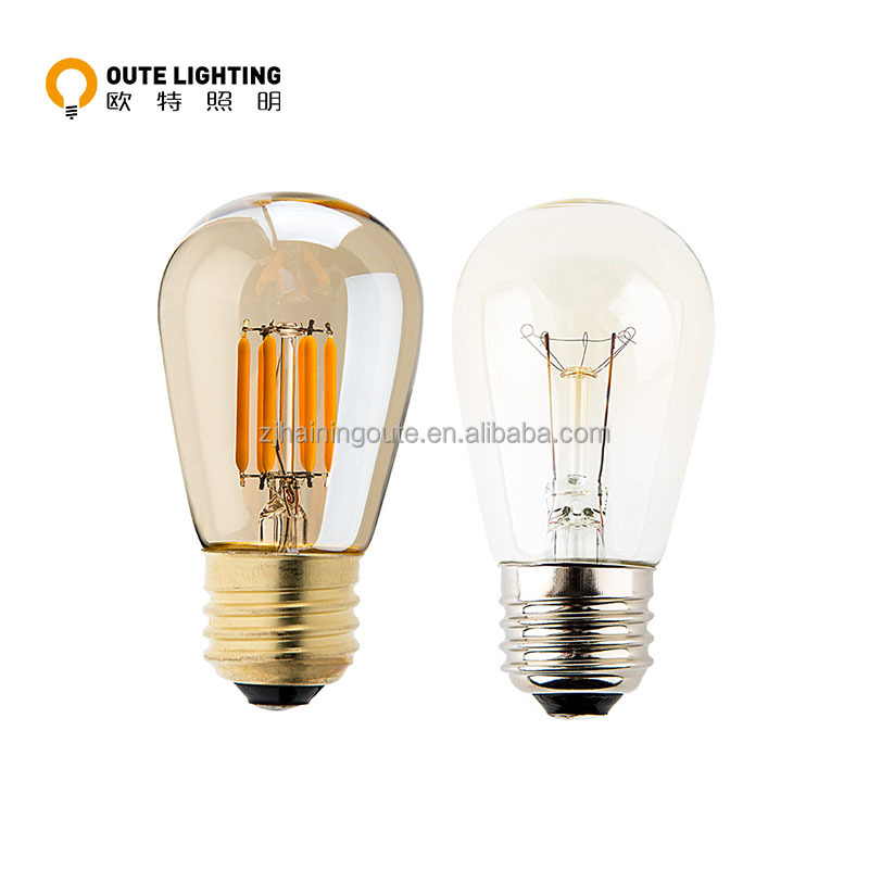 Commercial grade vintage patio led bulb s14 filament led edison outdoor string lights