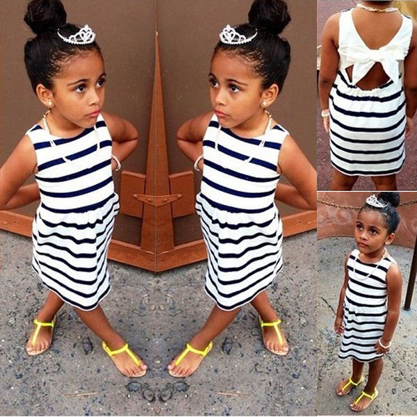 font b Dresses b font 2016 Summer Baby Kids Girls Party Clothing Bow Striped Quality