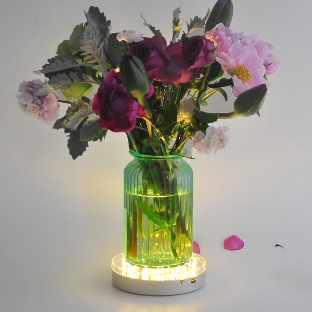 Glass Vases Wedding Centerpiece Flower Branch Shisha Hookah Bar Decorative 6INCH LED Vase Lights Round Base with Remote