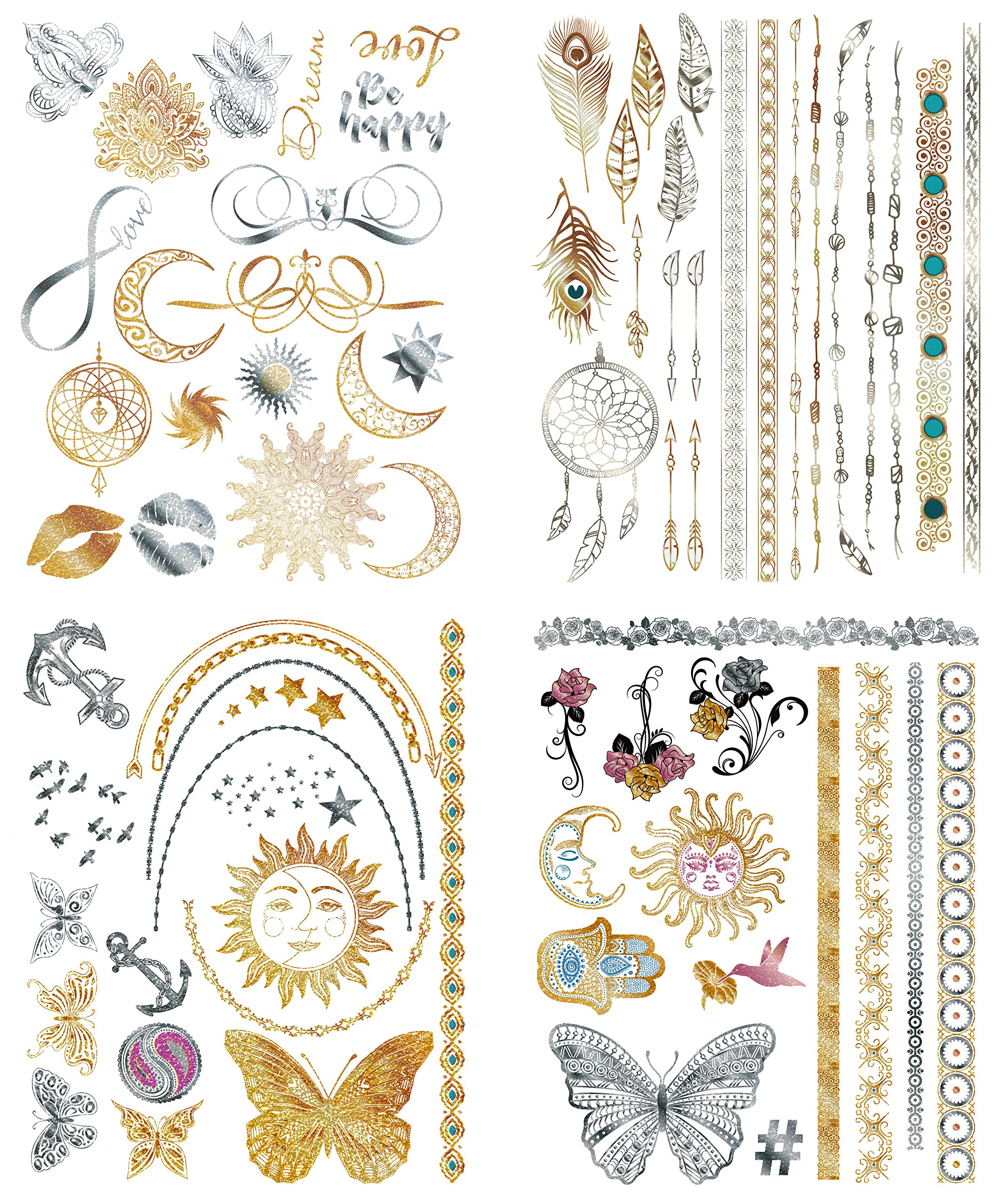 cf28d2133 Flash Metallic Temporary Tattoos For Women - 150+ Boho Tattoos & Mandala  Tattoos with Gold & Silver Shimmer - 8 Large Sheets of Bachelorette Tattoos  Include ...