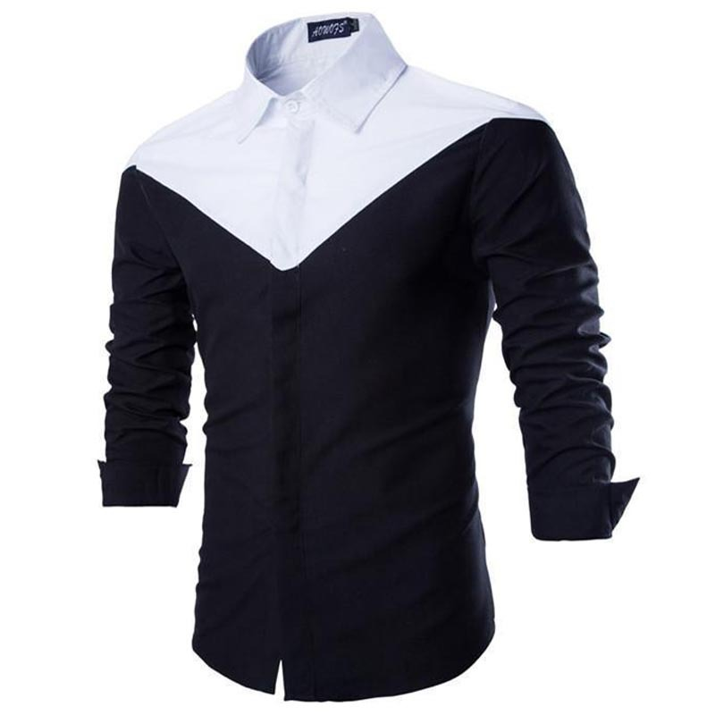 84b7a5a8546 Buy 2015 Fashion Mens Dress Shirts Brand Long Sleeve V-Type Patchwork Men  Shirt Cotton Slim Fit Casual Chemise Homme Shirts For Men in Cheap Price on  ...