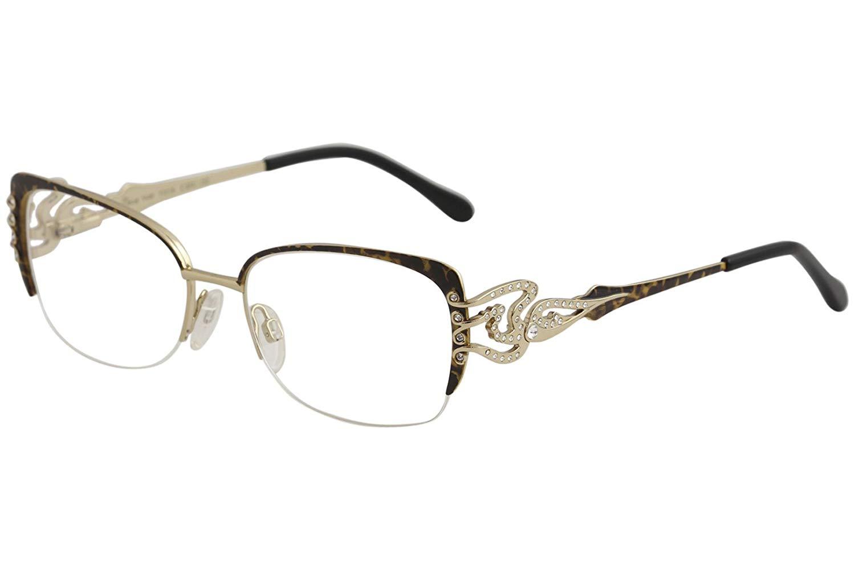 3e9e73d6e Get Quotations · Diva Eyeglasses 5440 854 Brown Leopard Gold/Crystal Half  Rim Optical Frame 53mm