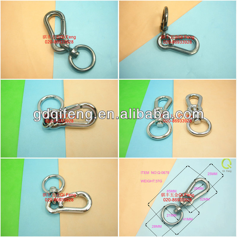 Fashion decoration bag part snap hook with swivel key ring