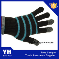 2015 Hot Black Stripe Smart Phone e Touch Screen Glove for iphone ipad