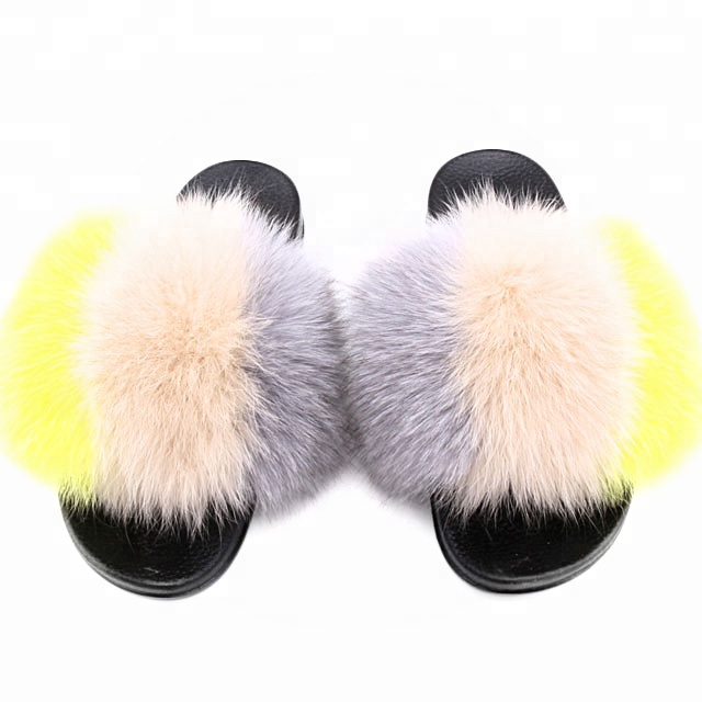 Colorful Girls Sandals Slippers Custom Wholesale Raccoon&Fox Fur Ladies Women flat Summer <strong>Slides</strong>