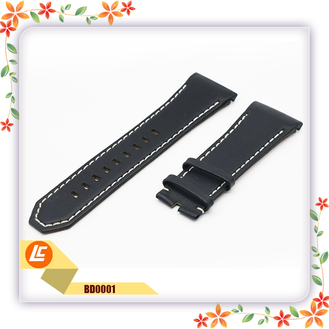 Hot selling genuine luxury black leather fitness smart watch strap band