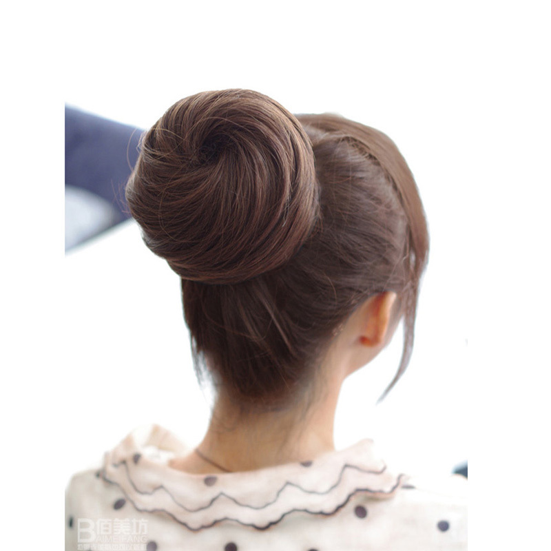 Новое поступление длинные прямые девушки женщины блюдо волос Bun парик синтетического мода хвост Scrunchie женщин шиньоны # l04041