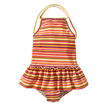 Little Girls Sleeveless Striped Swimming Dress Style Suit Kids One Piece Pleated Skirt Bathing Suits