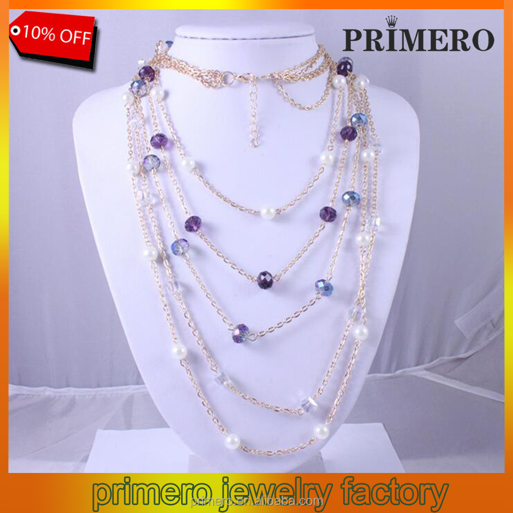 New fashion advertising multilayer crystal pearl necklace long sweater chain 18K Golden