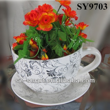 Garden Pot For Flower Cup And Saucer Ceramic Plant Pot - Buy Cup And ...