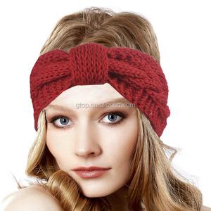 Women Girls Knit Turban Knot Headband Quilted Cable Knit Headwrap Crochet Winter Sport Headband TD-187