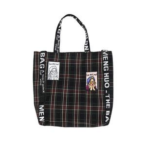 Plaid canvas bag female literary student shoulder portable dual-use cloth bag chic cloth bag cute