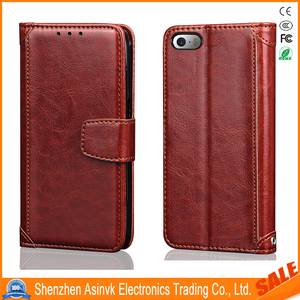 Classic Series Grain Leather Folio Flip Card Slot Kickstand Shockproof Magnetic Closure Rahmen Wallet Case for iPhone SE/5S/5