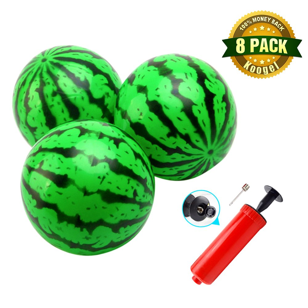 Koogel Kids Ball Playground Ball, Inflatable Ball with Pump 6.2 inch diameter Rubber Bouncing Ball for Watermelon Party Swimming Pool and Beach Watermelon Air Ball for Outdoor Games and Kickball