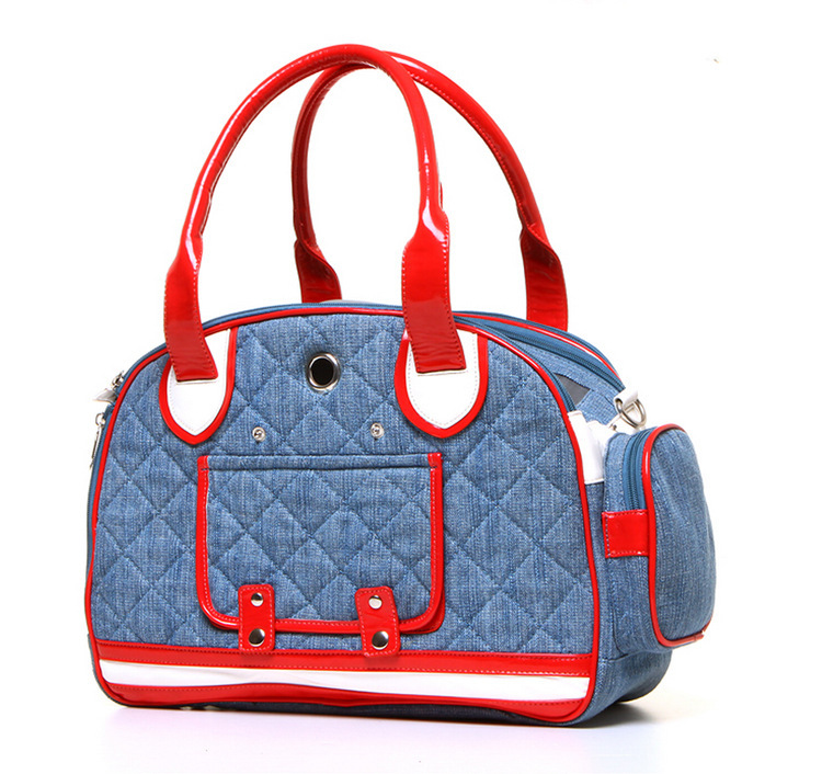 5d70b1119d Get Quotations · 2015 New Arrival Canvas Dog Bag Carrier Quilted Denim  Casual Portable Dog Bag for Small Dogs