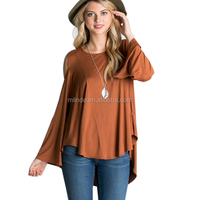 Fashion women apparel wholesale cold shoulder designs round neck high low bell sleeve tunic top clothing factories in china