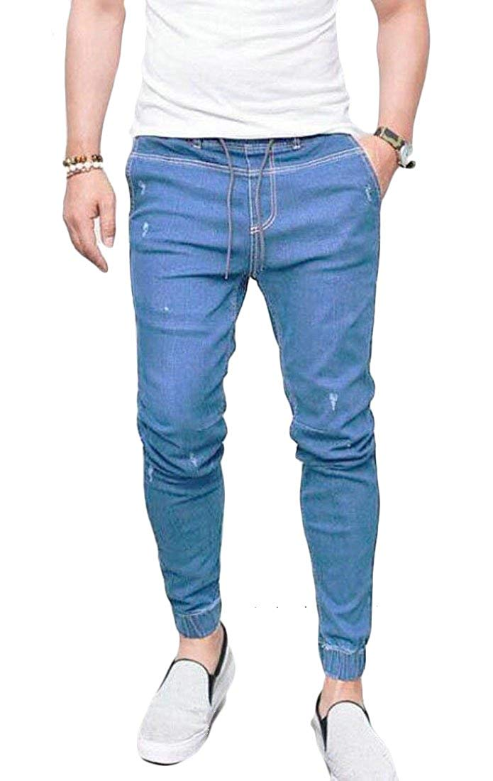 SHOWNO Mens Mid Waist Stretch Whitening Leotard Distressed Pockets Denim Jeans Pants