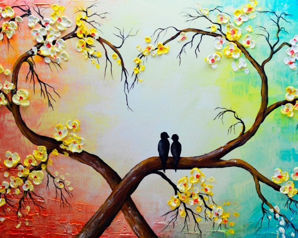 QIUXIA 100% Hand-painted Love Tree Oil Painting on Canvas Yellow White Floral Painting Love Bird Home Decor Art Wall Art For Home Decoration Decor Gift 16x20inch